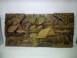 925.5 X 12 Teak Wood Carving Wall Panel Hand Carved Asian Wood Sculpture