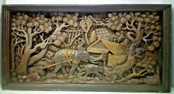 5625.5 X 12 Teak Wood Carving Wall Panel Hand Carved Asian Wood Sculpture