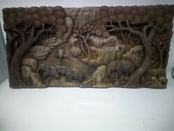 3625.5 X 12 Teak Wood Carving Wall Panel Hand Carved Asian Wood Sculpture