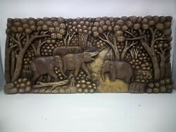 25.5 X 12 Teak Wood Carving Wall Panel Hand Carved Asian Wood Sculpture 49