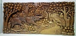 125.5 X 12 Teak Wood Carving Wall Panel Hand Carved Asian Wood Sculpture