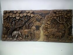 25.5 X 12 Teak Wood Carving Wall Panel Hand Carved Asian Wood Sculpture 40