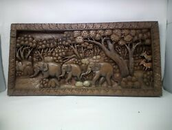 25.5 X 12 Teak Wood Carving Wall Panel Hand Carved Asian Wood Sculpture 44