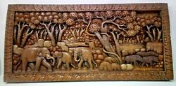 625.5 X 12 Teak Wood Carving Wall Panel Hand Carved Asian Wood Sculpture