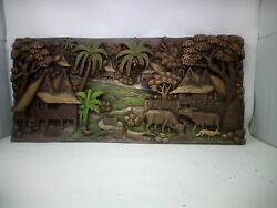 1025.5 X 12 Teak Wood Carving Wall Panel Hand Carved Asian Wood Sculpture