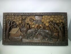 5225.5 X 12 Teak Wood Carving Wall Panel Hand Carved Asian Wood Sculpture