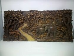 3725.5 X 12 Teak Wood Carving Wall Panel Hand Carved Asian Wood Sculpture