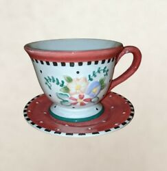 Vintage Mary Engelbreit Michel And Co. Me Inc. Teacup And Saucer Christmas...