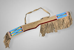 Indian Beaded Rifle Scabbard Sioux Style Suede Leather Native American S517