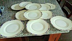 Set Of 12 Minton England Baccleuch Dinner Plates Blue And Gold 10.5 Mint