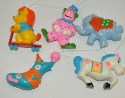 Lot Of 5 Sanitoy 1970s Circus, Animals, Clown Toy Plastic Carnival Ornament