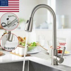 Brushed Kitchen Sink Faucet Pull Down Sprayer Swivel Single Handle Mixer Tap Us
