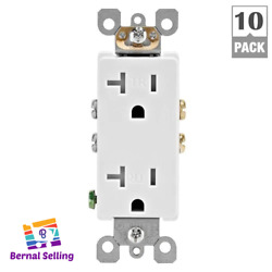Tamper Resistant Duplex Outlet Ultrasonic White 10-pack Decora 20amp Baby Proof