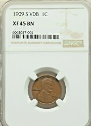 1909-s Vdb Lincoln 1c Ngc Xf/au-45 Choice Bn Example Of This Famous Rare Coin