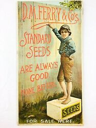 Antique D.m. Ferry And Company Cardboard Store Display Sign Seed Advertising 1900s