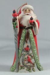 Jim Shore And039santa With Cardinal Sceneand039 2021 Ornament 6009459 New In Box