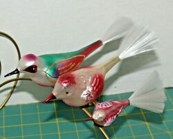 Set Of 3 Mercury Glass Bird Clip On Christmas Ornaments With Spun Tails 7