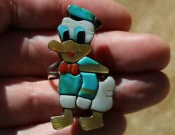 Big Zuni Handmade Sterling Silver Donald Duck Ring Turquoise Coral Onyx Shell