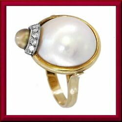 Antique Mabe Pearl 14k Yellow Gold Mabe Pearl Ring With Diamonds, Rings M-f