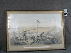 Antique American Military Civil War Engraving Bombardment Of Fort Fisher