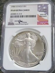 1986 S Ngc Pf 69 Ultra Cameo Proof American Silver Eagle Mercanti Hand Signed