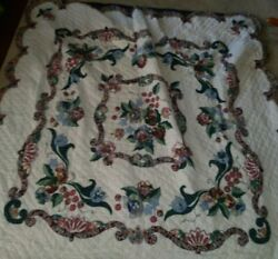 Vgic Country Cottage Chic Pink Blue Flower Garden Floral Full Size Quilt Ring