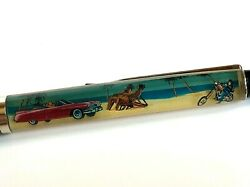 Vintage California Cruising Floaty Pen Moving Car On Beach Motorcycle Floating