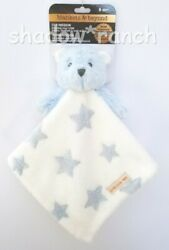 Blankets And Beyond Blue Bear Stars White Plush Security Nunu Lovey Gift Toy Nwt