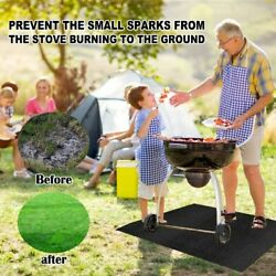 Bbq Grill Mat Waterproof Barbecue Yard Black Cover Garden Lawn Living Pad