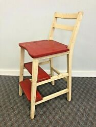 Vintage Wood Step Stool Country Folding Chair Primitive Kitchen Bar Red Wooden