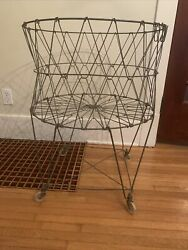 Vintage Allied Metal Wire Standing Collapsible Folding Laundry Basket On Wheels