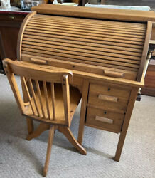 Vintage Antique Children Child Oak Wood Roll Top Writing Desk And School Chair