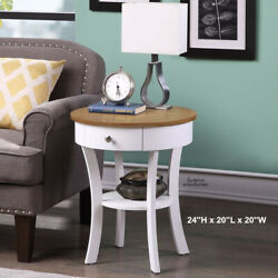 Farmhouse Side Table Nightstand Bedside Wooden 2 Tone Lamp Stand White Furniture