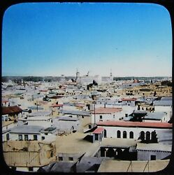 Glass Magic Lantern Slide Rooftop View Of Damascus C1900 Old Photo Syria