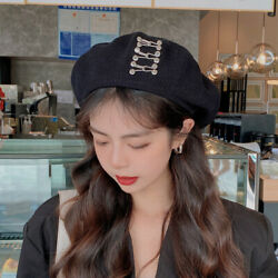 Thin Pin Buckle Black Beret Female S/a Tide Ins Retro Japanese Wild Painter Hat