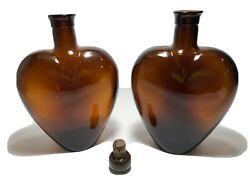 Vintage Paul Masson Pair Of 8 Amber Brown Glass Heart Shaped Bottle Decanter