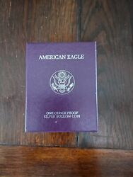 1986 S American Silver Eagle Proof Silver Dollar W/ Box/coa 1st Year Of Issue