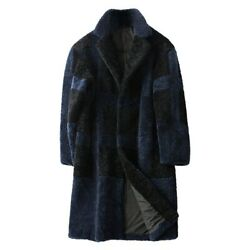 Menand039s Real Cashmere Fur Jacket Mid Long Lapel Coat Outwear Winter Warm Loose Fit