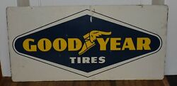 Rare Vintage 2-sided Goodyear Tires Gas Station Oil Good Year Advertising Sign