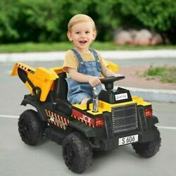 12v Battery Kids Ride On Dump Truck Rc Construction Tractor W/ Electric Bucket