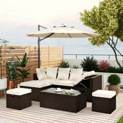 5-piece Outdoor Wicker Sectional Sofa Set Patio Furniture Lounger Ottoman Table