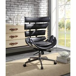 Ergode Executive Office Chair Vintage Black Top Grain Leather And Aluminum