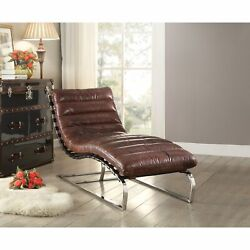 Ergode Chaise Vintage Dark Brown Top Grain Leather And Stainless Steel