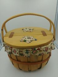 Sewing / Yarn Apple Basket With Liner And Padded Leather Hinged Top Large Size