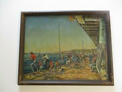 Vintage Oil Painting With Antique Carved Frame Boardwalk Pier Fishing Beach 1950