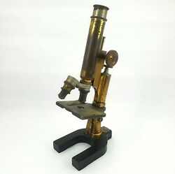 Antique Bausch And Lomb Microscope Brass With Two Objective Lenses For Restoration