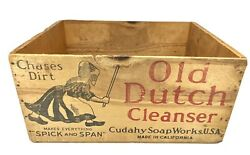 Antique Vtg Rare Old Dutch Cleanser Wood Crate Woman Chase Dirt Cudahy Soap 1927