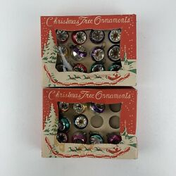 Vintage Glass Christmas Bulb Indented Ornaments 20mm Qty 20