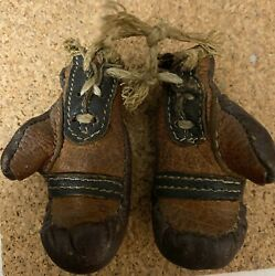 Antique Salesman Sample Miniature Brown Leather Boxing Gloves
