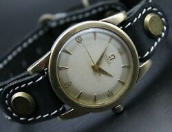 💥rare Omega Wrist Watch Antique Harf Rotor Cal.351 White Dial Automatic Men's